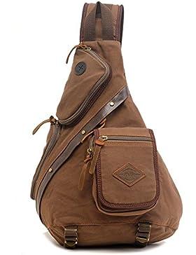 Tibes Chest Pack Crossbody Tasche Vintage Canvas Schulter Sling Bag Sling Tasche Rucksack für Männer