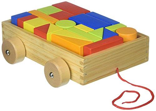 Tooky Toy Blockwagen zum Hinterherziehen mit 21 Holzblöcken in verschiedenen Formen und Farben - Holz Bauwagen zum Spielen und Lernen ca. 22 x 19 x 7 cm