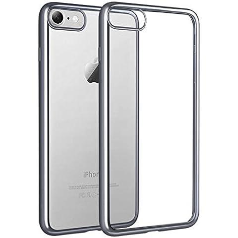 iPhone 7 Custodia, KKtick iPhone 7 Case Cover Sottile Silicone Galvanica TPU, Anti Slip, Antigraffio, Antiurto Bumper pelle protettiva per iPhone 7 (nero)