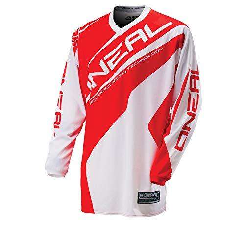 O\'Neal Element MX Jersey RACEWEAR Weiß Rot Trikot Mootocross Enduro Offroad Downhill, 0024R-31, Größe L