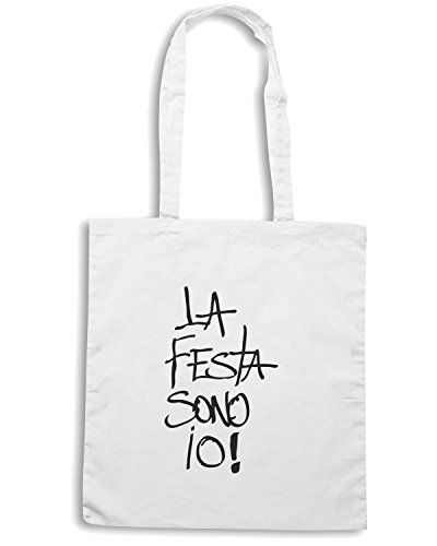 T-Shirtshock - Borsa Shopping TDM00150 la festa sono io Bianco