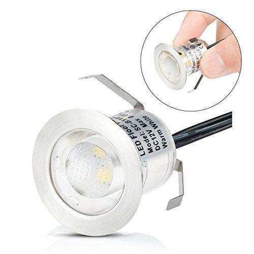 Spots LED Encastrable Extérieur IP67 Acier inoxydable - Spots à Encastrer pour Terrasse Bois Plafond 0,6W DC12V lumière Blanc étanche Kit Mini Spot LED Lampe Extérieur pour Chemin Contremarches d'escalier Piscine