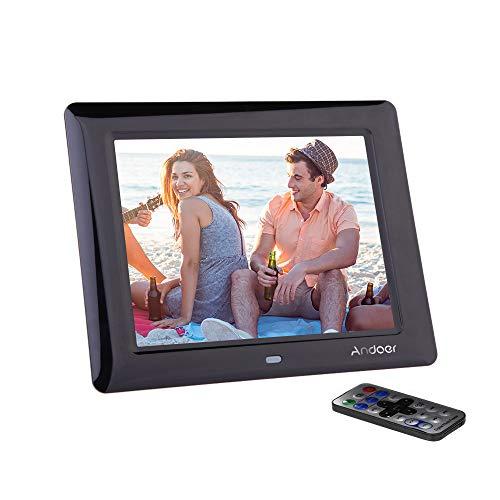 Andoer Digitaler Bilderrahmen, HD, TFT-LCD, 20,32 cm (8 Zoll), 800 x 600 Pixel, mit MP3-/MP4-Player-Funktion, USA-Stecker, mit Fernbedienung