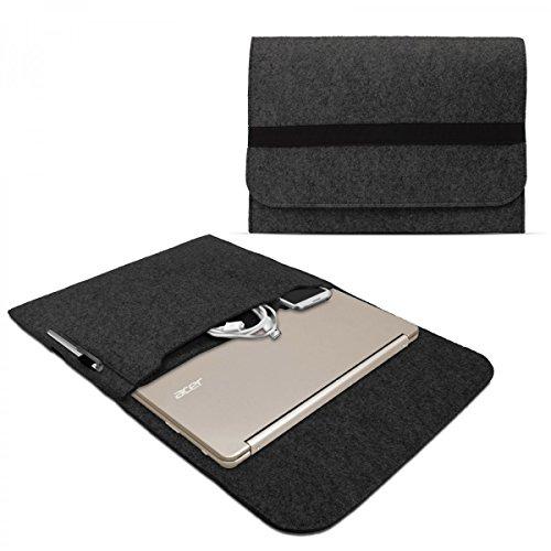 eFabrik Sleeve für Acer Chromebook R13 Schutzhülle 13,3 Zoll Ultrabook Notebook Tasche Case Soft Cover Schutztasche Sleeve Filz dunkel grau