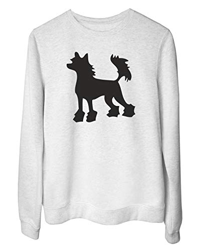 T-Shirtshock Rundhals-Sweatshirt fur Frau Weiss WES0577 Chinese Crested Hairless Dog Silhouette Chinese Crested Dog Sweatshirt