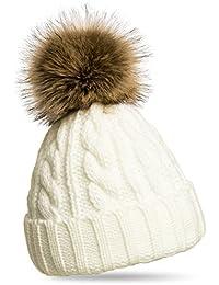 CASPAR MU104 Bonnet fourré hiver pour femme - bonnet tricoté avec torsades  et gros pompon en 8a331a99275