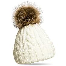 CASPAR MU104 Bonnet fourré hiver pour femme , bonnet tricoté avec torsades  et gros pompon en