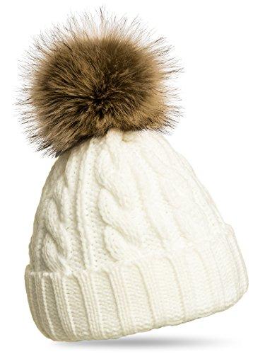 CASPAR MU104 Bonnet fourré hiver pour femme - bonnet tricoté avec torsades et gros pompon en fausse fourrure, Couleur:blanc;Taille:One Size