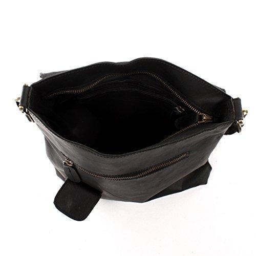 LECONI Umhängetasche Damen Crossbag Rindsleder Natur Schultertasche Ledertasche Handtasche 29x29x6cm LE3027 schwarz
