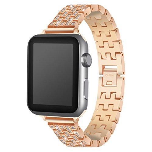 Kristall Strass Armband für Apple Watch Series 1/2/3 38MM, Siswong Edelstahl Ball Sport Schweißband Trageschlaufe Uhrenarmband für Ersatz (Rose Gold)