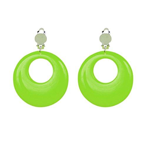 Ohrringe Creolen Modeschmuck grün 80er Jahre Damen Schmuck Mode Ohrstecker 90er Ohrclips Ohrschmuck Party Outfit Verkleidung