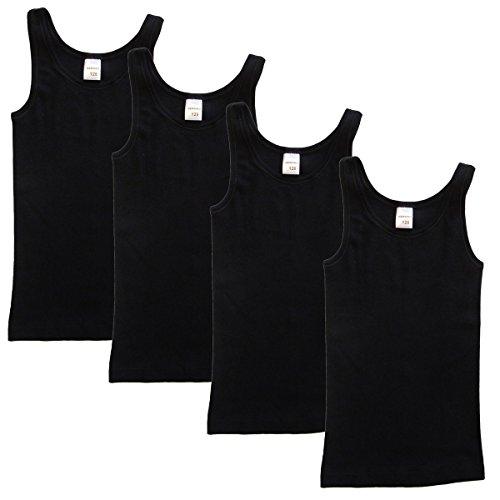 HERMKO 2000 4er Pack Mädchen Unterhemd aus 100% Bio-Baumwolle, Tank Top, Farbe:schwarz, Größe:152