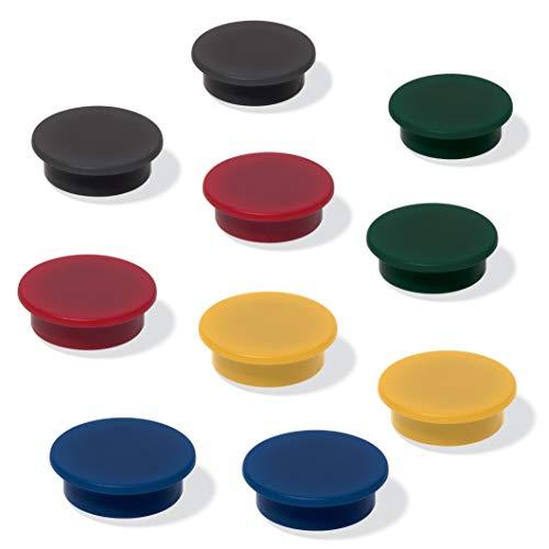 SIGEL MU197 Magnete für Whiteboard, Magnettafel, Kühlschrankmagnet, je 2x schwarz, rot, gelb, grün, blau, Ø 25 mm, 10 Stück