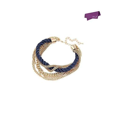 SalesLa charme bijoux de mode femmes multicouches bracelet pendentif cogner la chaîne de corde tressée en alliage