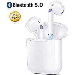Écouteurs Bluetooth, Écouteurs sans Fil Bluetooth V5.0 avec étui de Chargement Portable, Mic HD Intégré et Son 3D Stéréo, IPX5 Étanche, Ecouteur Bluetooth Sport pour Gym