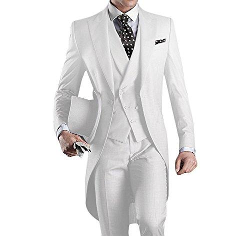 Weiß 5 Teilig (GEORGE BRIDE Herren Anzug 5-Teilig Anzug Sakko,Weste,Anzug Hose,Krawatte,Tasche Platz 005 (XL (Siehe Größentabelle), Weiß))