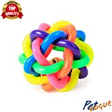 PetVogue Pet Dog Colorful Bouncy Rubber Balls Chew Toys with Bell for Puppies (Multicolour, Small)