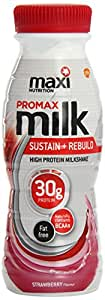 MaxiNutrition Protein Milk Ready-to-Drink Sustain and Rebuild Shake - Strawberry, 330 ml, 8 x Bottles
