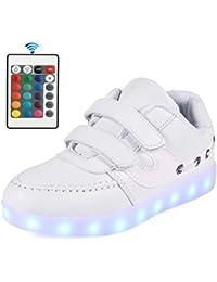 AFFINEST niños Zapatos 7 Color LED Zapatos Verclo Sneaker USB Carga Zapatos de moda para niños y niñas Con mando a distancia
