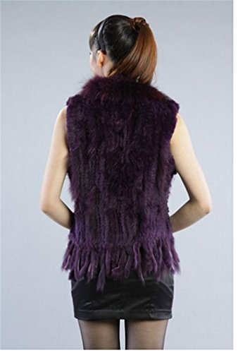 Saoirse Damen Kanichen Fellweste Pelz Weste mit Waschbär Fell Dunkel Purple