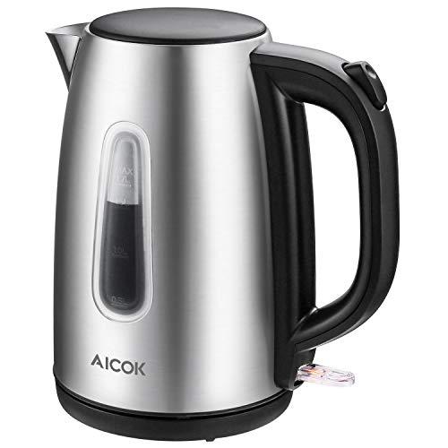 Aicok Wasserkocher (BPA-frei), 1.7 Liter Wasserkocher Edelstahl mit Automatische Abschaltung und Trockenschutz, Schnellkochender Wasserkocher, 2200W