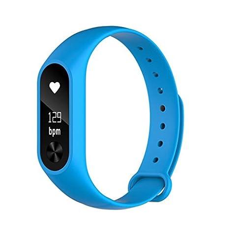 hunpta M2S Bluetooth Smart étanche bracelet monitorsports Montre de fréquence cardiaque, bleu