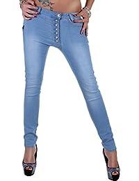 Damen Röhren-Chino-Jeans in Schwarz oder Blau mit schräger Knopfleiste Boyfriend 34XS - 44XXL