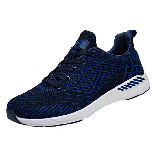 friendGG Neu Laufschuhe Atmungsaktiv Outdoor Running Leicht Turnschuhe FüR Damen Herren Paar Modelle Leichte Atmungsaktive Sportschuhe Sneakers SchnüRer (Blau,41 EU) -