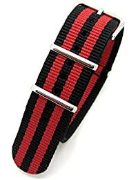 Black & Red Striped Infantry Military MoD NATO Nylon Fabric GENERIC G10 4 Rings Watch Strap Band Chrome Buckle (20mm Fitting)