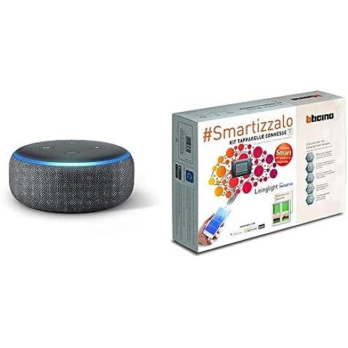 Echo Dot (3ª generazione) - Altoparlante intelligente con integrazione Alexa - Tessuto antracite + Bticino SL2000KIT Livinglight Kit Tapparelle Connesse, Antracite