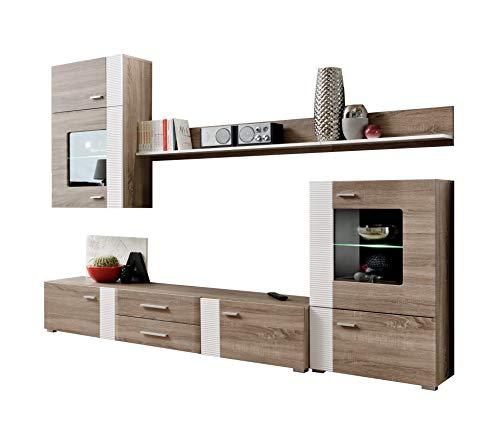 Mueble de salón Monica Color truflowy/Blanco con led Incluido