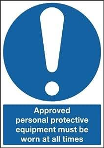 210x 148mm zugelassen Persönliche Schutzausrüstung zu tragen, jederzeit–selbstklebend Sicherheit Label