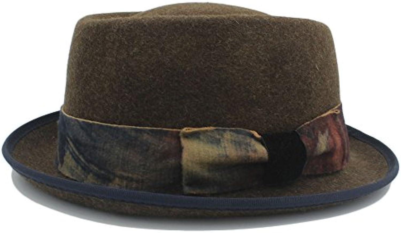 GHC Cappelli e cappellini Pork Pie Cappello nastro di jeans vintage di lana  nera con nastro Cappello di tintura (Coloree 2 181e2045abae