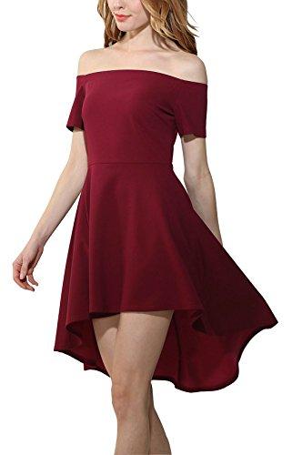 ... YOGLY Damen Kleid Elegant Schulterfrei A-Linie Knielang Kurzarm Vintage  Partykleid Cocktailkleid Abendkleid Sommerkleid Ballkleider 7866aa35ec