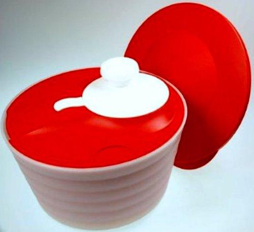 TUPPERWARE Salatschleuder Salat-Karussell 4,5L Rot-Weiß D128 Salatkarussell