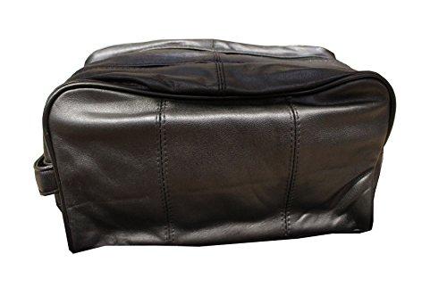 Alassio 44001 – Kulturtasche JUMBO, aus hochwertigem Nappaleder, ca. 28 x 16 x 14 cm, schwarz - 2