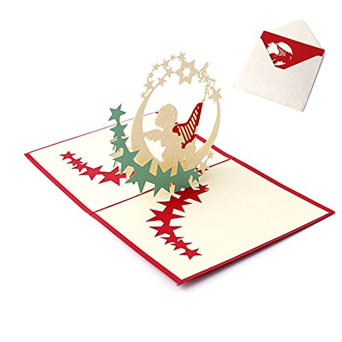 cuigu 3D Pop up Paper Cut blanko Grußkarte handgefertigt Postkarte Geburtstag Einladung Karte Geschenk-Music Angel