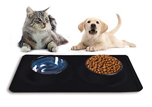 Futternapf Fressnapf für Katze Hund mit Silikon-Napfunterlage Napf Set Edelstahl Hundenäpfe Schützt den Boden vor Schmutz