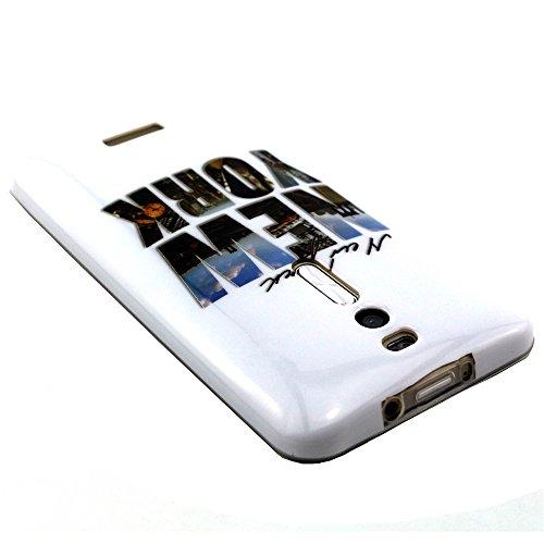 Asus Zenfone 2Cover, con protezione schermo,], de-liggo ® Buona Qualità morbida in silicone Gel TPU Antigraffio colorato stampato disegno Pattern Design leggero ultra sottile paraurti posteriore Case New York