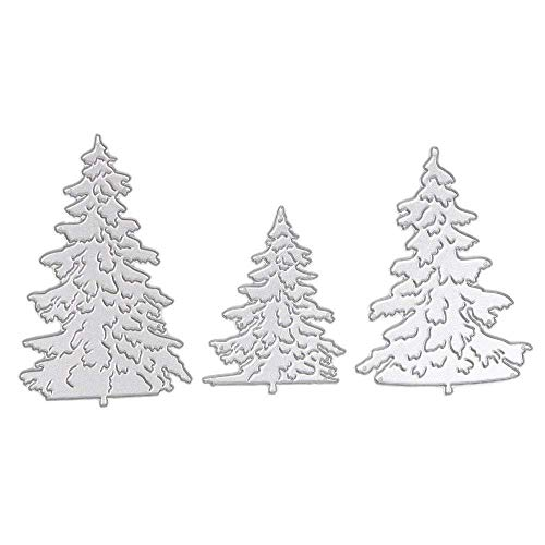 Zeagro 3 Stanzschablonen Weihnachtsbaum für DIY Stempel, Fotoalbum, Papier, Karten, Metall, Prägeschablone, Dekoratives Scrapbooking, Kunstwerk