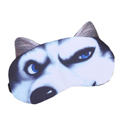 DAKERTA Schlafmaske Lustig Augenmaske Süße Schlafbrille mit 3D Ohr Katze Hund Augenbinde Augenabdeckung für Frauen Kinder Zug Bus Flugzeug Reise Büro Mit Eissack (A) (Katze Ohr Kostüme)