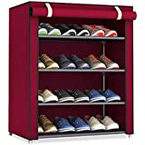 Ebee Store Metal Collapsible Shoe Stand (Red, 4 Shelves)