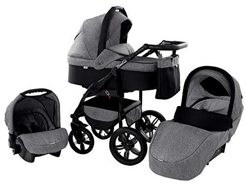 *Kinderwagen Babywagen Kombikinderwagen Zeo Wind 3 in 1 Komplettset mit Zubehör 0-3 Jahre 0-15 kg Insektenschutz Einkaufstasche Regenschutz Getränkehalter Buggy Autositz (47)*