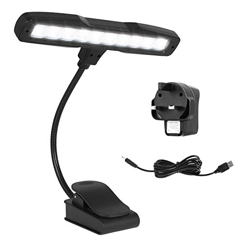 Kootek Upgrade 10 LED Clip On Music Light Stand with USB Rechargeable Lithium Battery Adjustable Flex Neck LED Bright Reading Booklight with AC Adapter