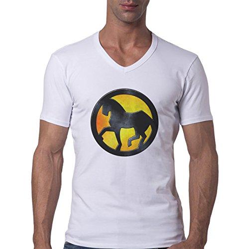 Horse Animal Pony Stud Yellow Logo Herren V-Neck T-Shirt Weiß