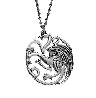 Game of Thrones House Targaryen Silver Dragon Pendant Necklace