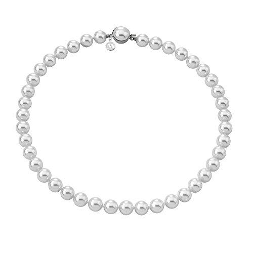 Majorica - Collar corto de 45 cm, 8 mm perlas blancas redondas
