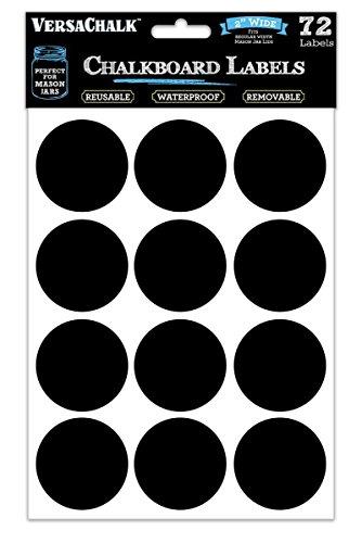 72 runde Tafel-Etiketten für Einmachgläser-Deckel, Konserven, Nahrungsvorräte, Speisekammer, Gewürzgläser oder Gefrierfach! Die wasserfesten Tafel-Aufkleber aus schwarzer Tafelfolie (Jar-tafel-etiketten)