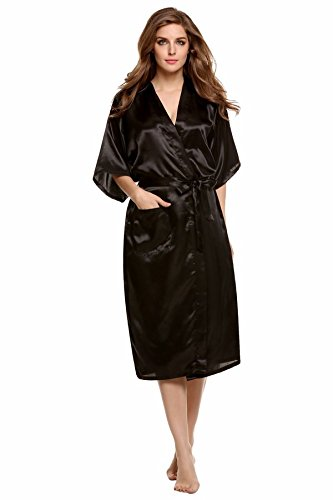 GSHGA Frau Pyjamas Silk Nightgown Pyjamas Strickjacke Fester Farbe Seide (Kostüm Kleinkind Kitty Black)