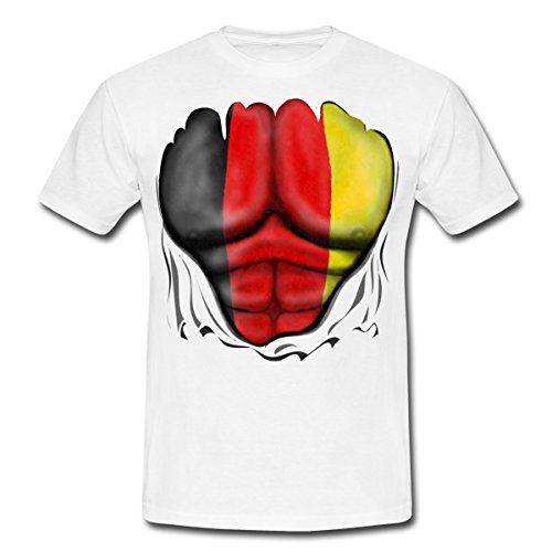 Deutschland Flagge Muskel Männer T-Shirt von Spreadshirt®, L, (Für Kostüme Eishockey Jungen)